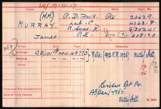 Army Ancestry Research MoD references on medal index cards