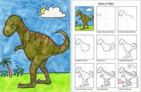 Belajar menggambar dinosaurus untuk anak-anak