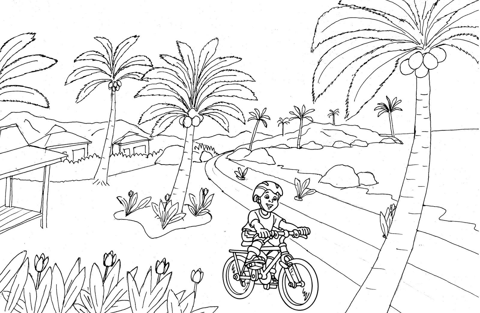 Gambar Mewarnai Pemandangan Pantai Poster