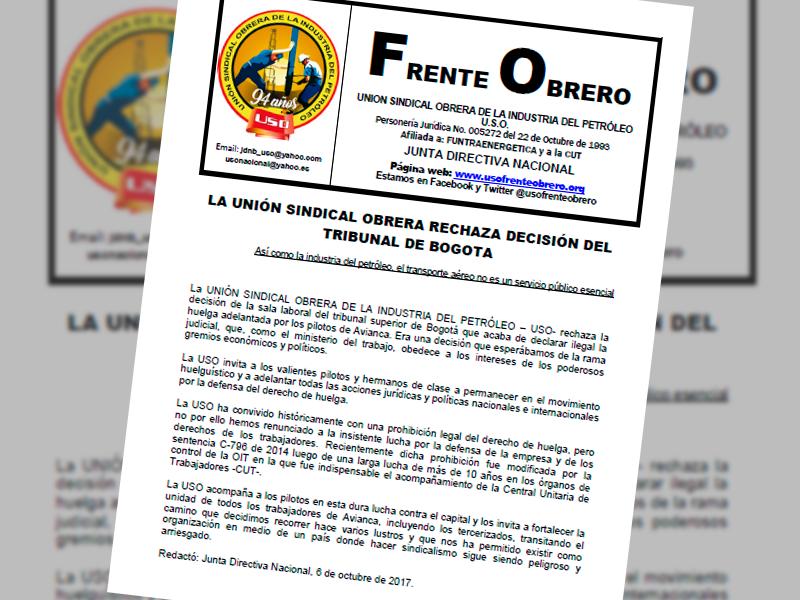 LA UNIÓN SINDICAL OBRERA RECHAZA DECISIÓN DEL TRIBUNAL DE BOGOTA