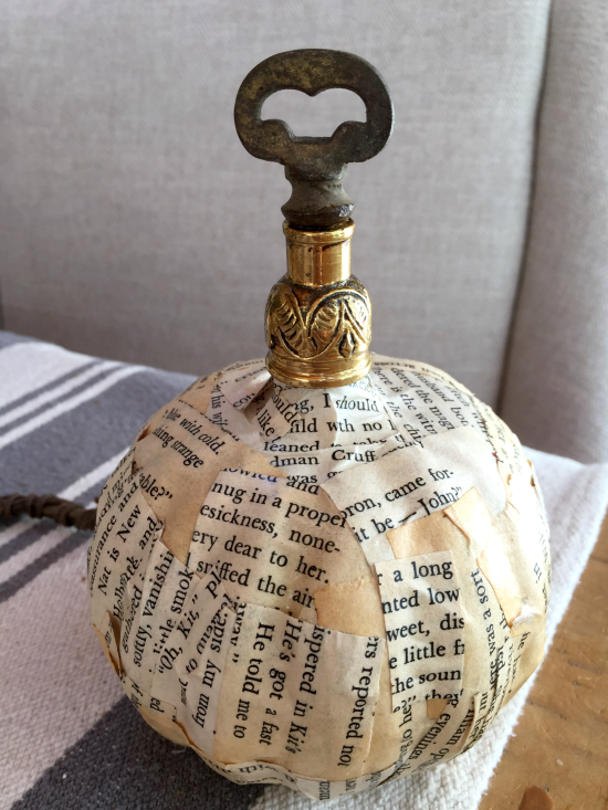 newsprint pumpkin with metal hardware