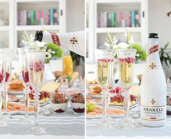Dessert für den Osterbrunch: Schokokuss-Creme mit Granatapfel und Granola-Topping Henkell Blanc de Blancs