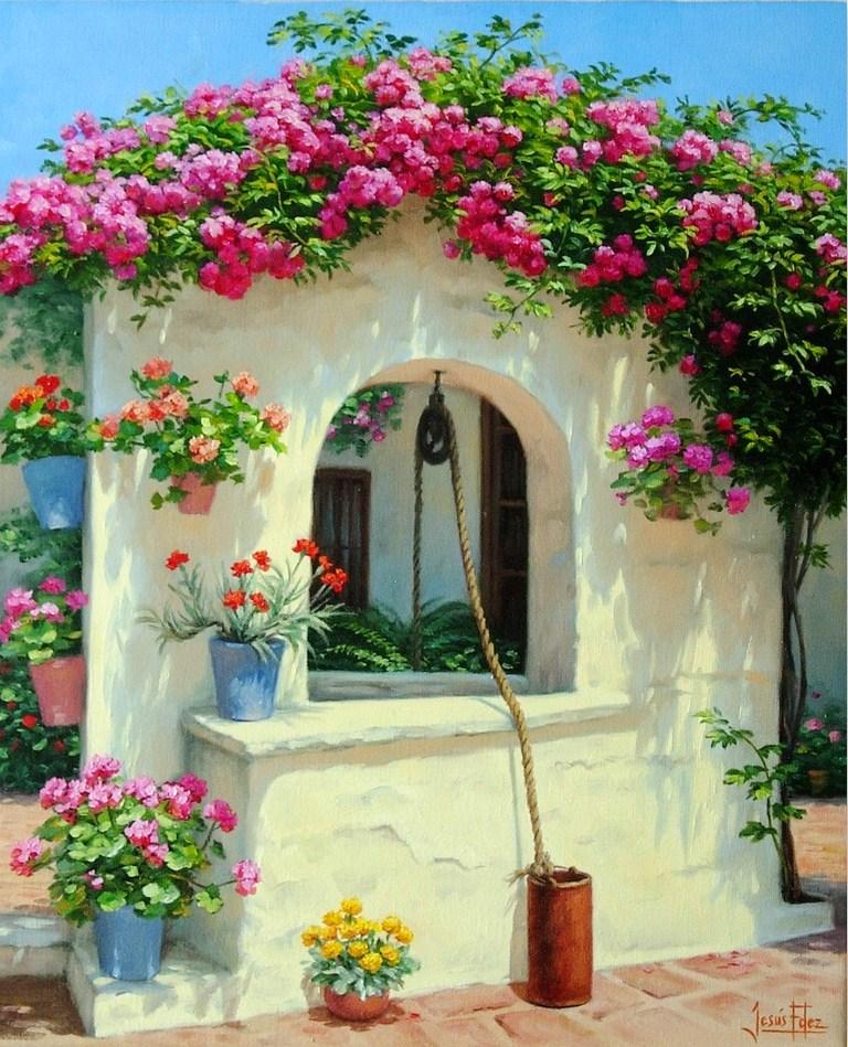 Im genes arte pinturas paisaje con flores alegres para pintar - Oleos decorativos ...