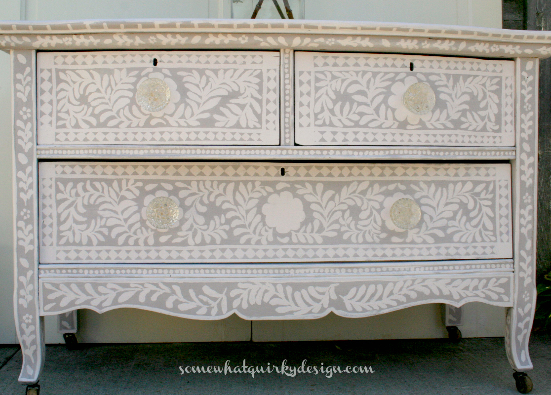 Somewhat Quirky Painted Inlay Dresser