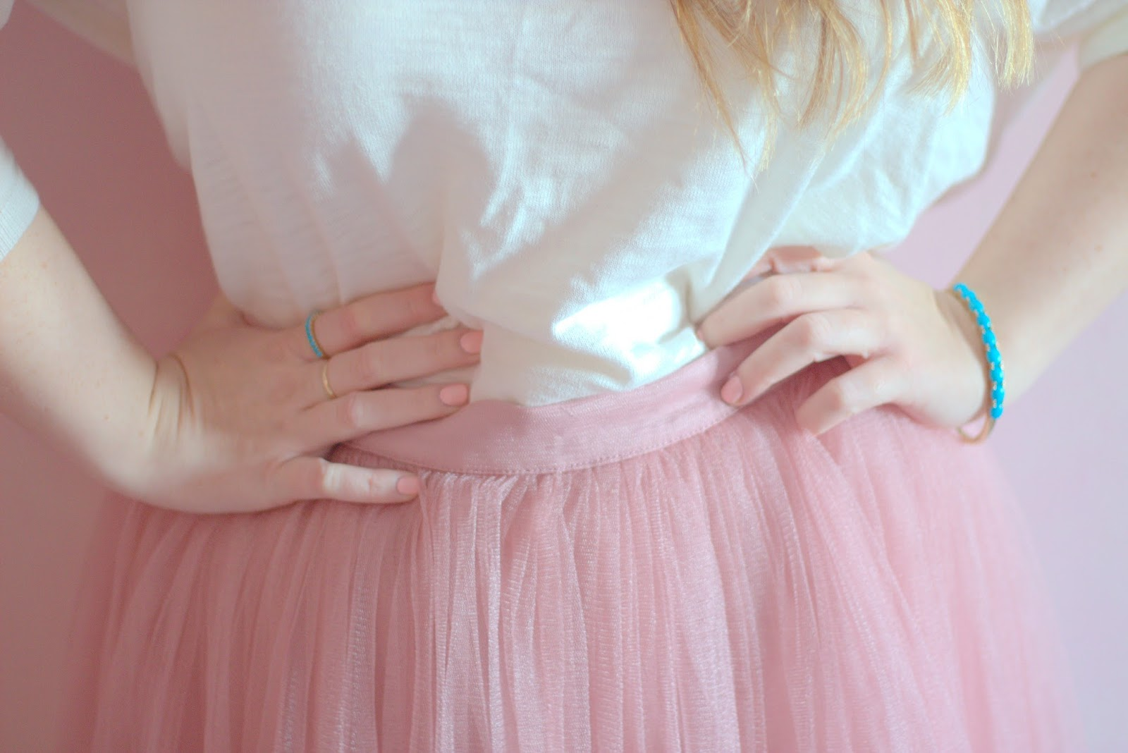 pink tulle skirt and pink nail polish outfit post