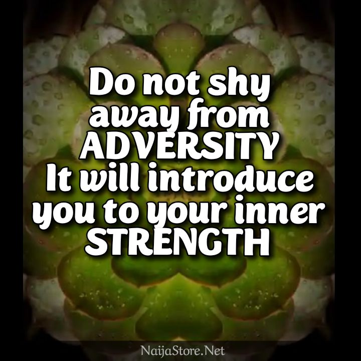 Motivational Quotes: Do not shy away from ADVERSITY - It will introduce you to your inner STRENGTH