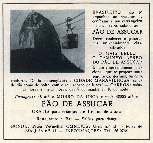 Campanha do começo dos anos 40 que buscava incentivo aos cariocas para visitarem o Pão de Açúcar