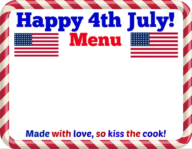 Happy 4th July Menu Printable
