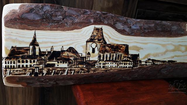 Toruń – panorama wypalana w drewnie