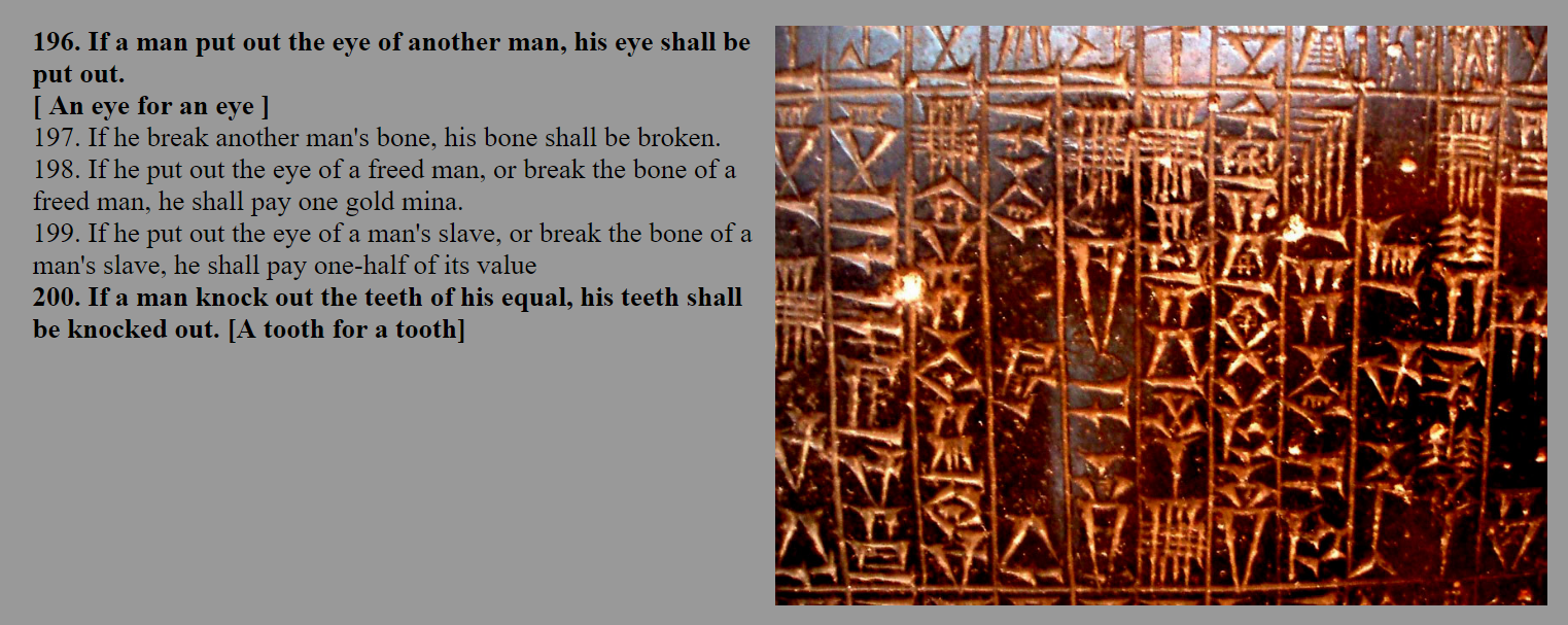 the importance of the code of hammurabi Code of hammurabi, the important laws of our time usually whenever people think of laws, they tend to think of congress but the root of many laws originated from king hammurabi's codes.