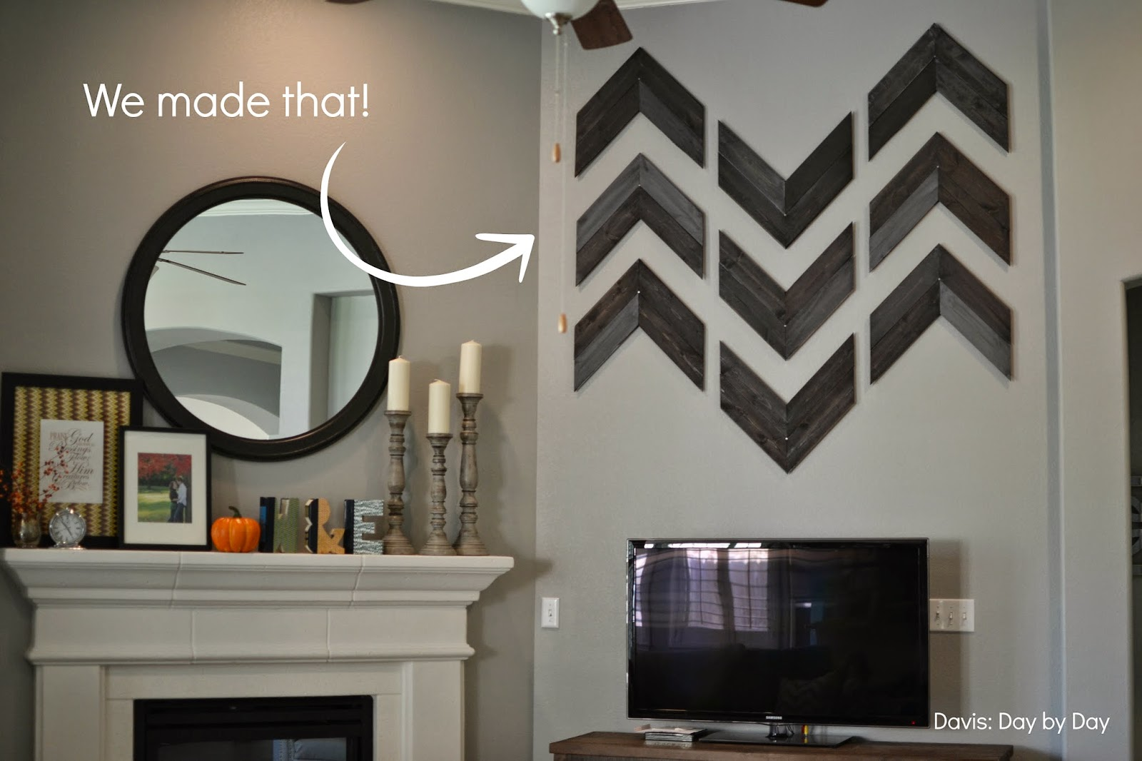 Famous Davis: Day by Day: Distressed Wood Chevron Wall Decor HH24