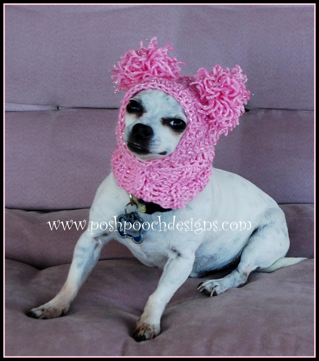 7aec8ae4c68 Posh Pooch Designs Dog Clothes  Pink Pom Pom Dog Snood Crochet ...