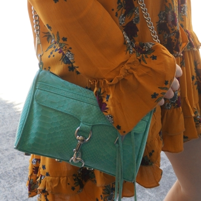 mustard floral ruffle dress Zaful statement sleeves with aqua mini MAC Rebecca Minkoff Bag | away from the blue