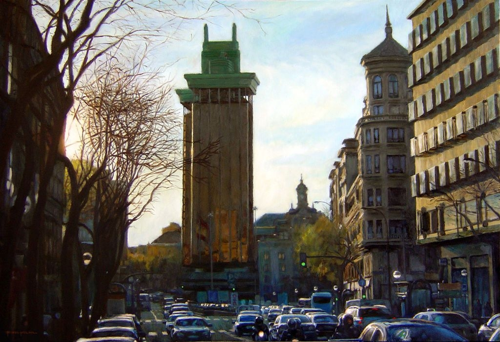 13-Torres-de-Colón-Fidel-Molina-Realistic-Paintings-of-Cities-Frozen-in-Time-www-designstack-co