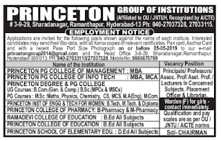 Assistant Professor/Lecturers/Librarian Jobs Recruitment 2019 Princeton Group of Institutions (Degree, P.G, Eng), Hyderabad
