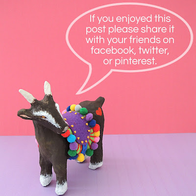 Goat with speech bubble inviting post shares