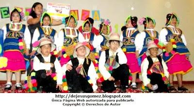 Foto de los integrantes de la Danza Tunasmarca (Carnaval de Moquegua) - Niños de incial. Foto de elenco de danza Jesus Gómez