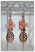 boucles d'oreilles ananas rose doré et perles en jade saumon