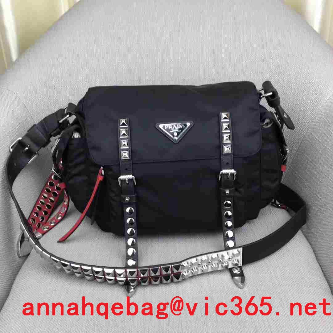 6b8618a9a Daily New:Prada Black Nylon Messenger Bag 1BD118