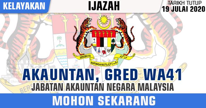 Jawatan Kosong Kerajaan 2020   Akauntan , Gred WA41 - Jabatan Akauntan Negara