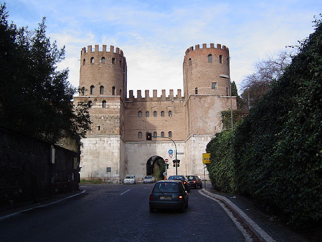 The Porta San Sebastiano, the best preserved of the fortified gates iin the Aurelian Wall that encompassed ancient Rome.