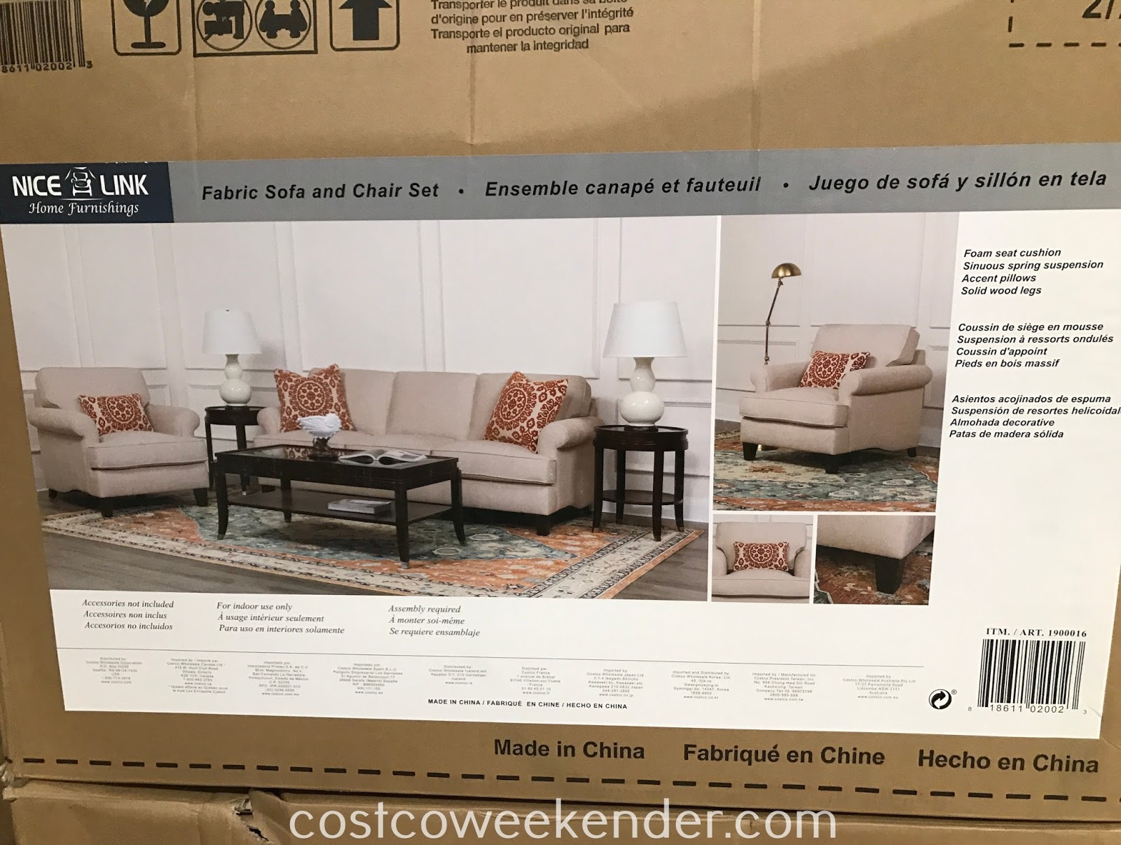 Costco 1900016 - No need to buy separate pieces of furniture with the NiceLink Fabric Sofa & Chair Set