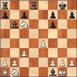 Partida de ajedrez Durao Leal vs Francino, posición después de 13…Axf1!