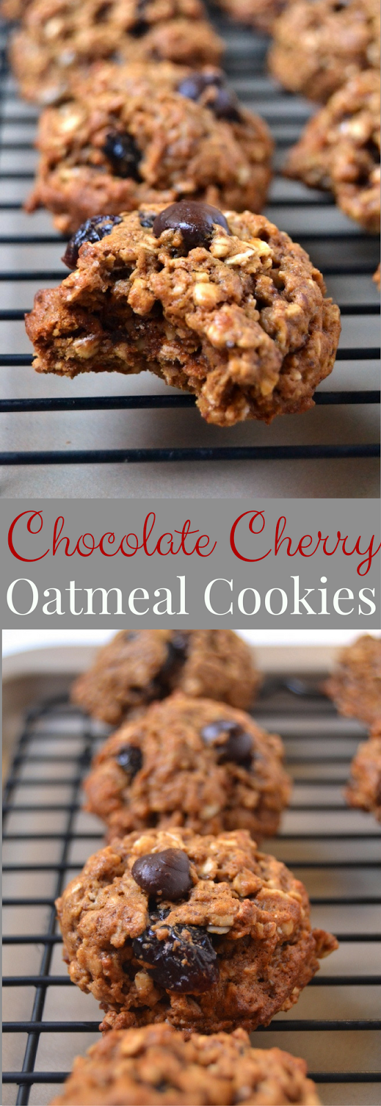 Chocolate Cherry Oatmeal Cookies are made healthier with oats, whole-wheat flour and flax. They are a perfect sweet treat with dried cherries and dark chocolate chips that are soft, slightly chewy and have crisp edges. www.nutritionistreviews.com