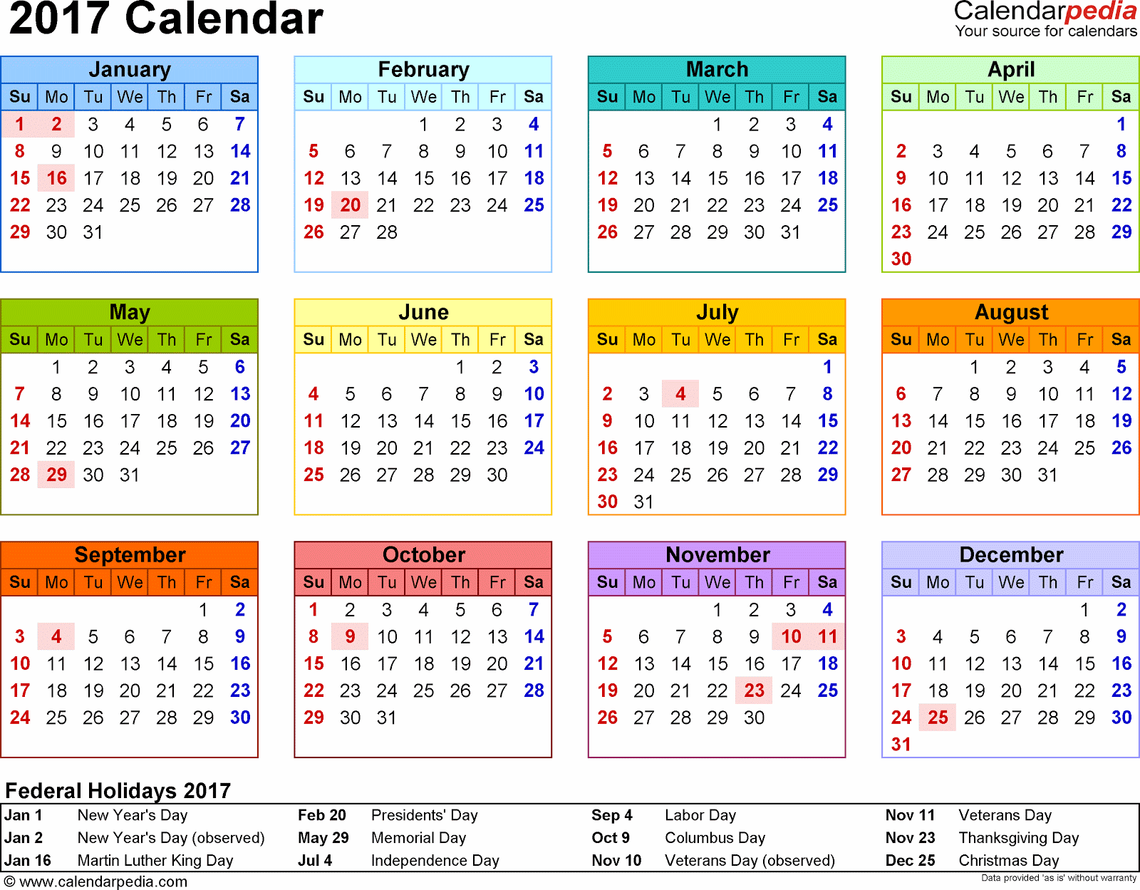 printable 2017 monthly calendar template