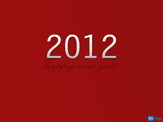 Happy New Year 2012 Simple Text Wallpaper Red