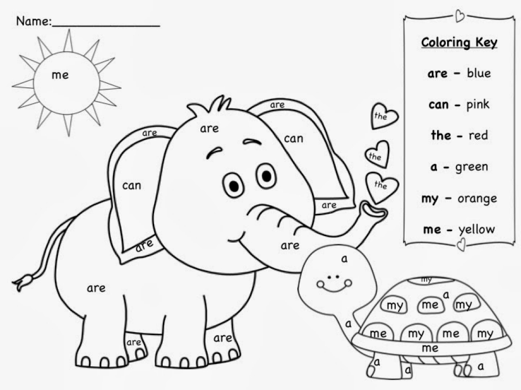 Coloring sheets sight words - Sight Words Coloring Pages For Kids