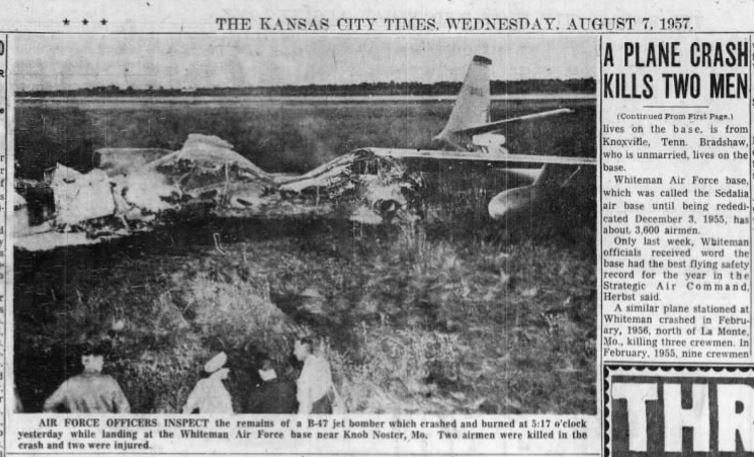 Knob Noster (MO) United States  City pictures : Johnson County & Warrensburg Mo History: 1957 August 7, B 47 Air Force ...