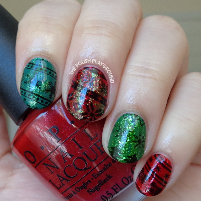 Ugly Sweater Holiday Inspired Stamping Nail Art