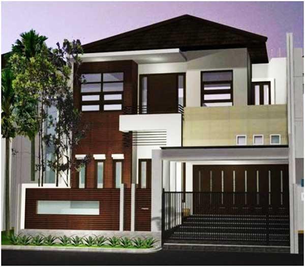 ornamen desain rumah minimalis 2 lantai sederhana tampak depan