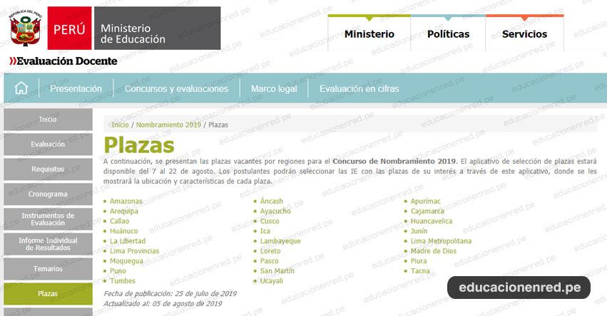MINEDU: Relación Final de Plazas Vacantes para Nombramiento Docente 2019 (ACTUALIZADO 5 AGOSTO) www.minedu.gob.pe
