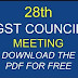 Recommendations made during the 28thmeeting of the GST Council held in New Delhi on 21 2018