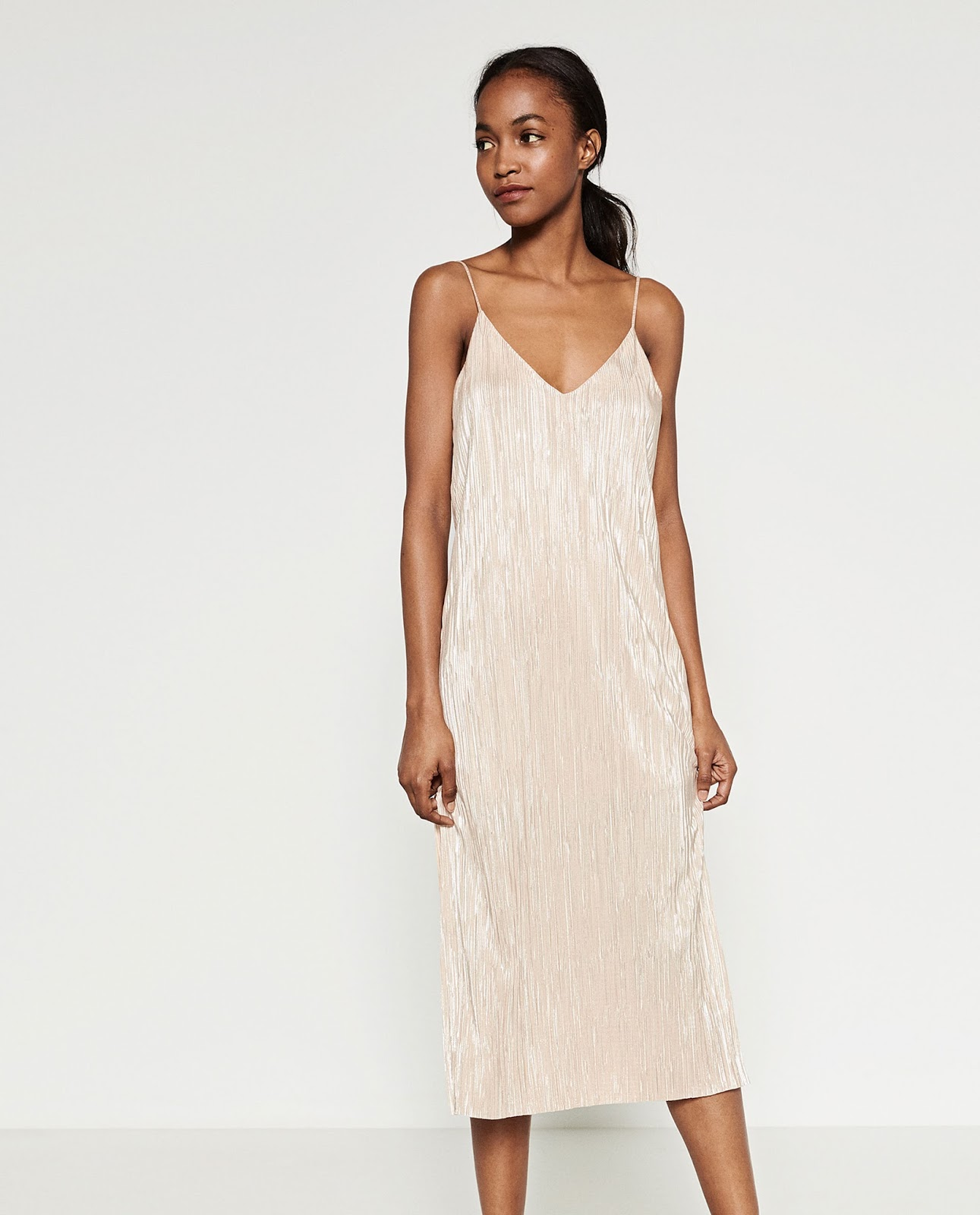 90s style long metallic slip dress from Zara