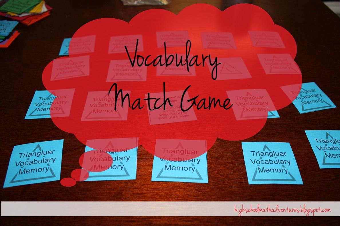 High School Math Adventures With Mrs B Vocabulary Match Game