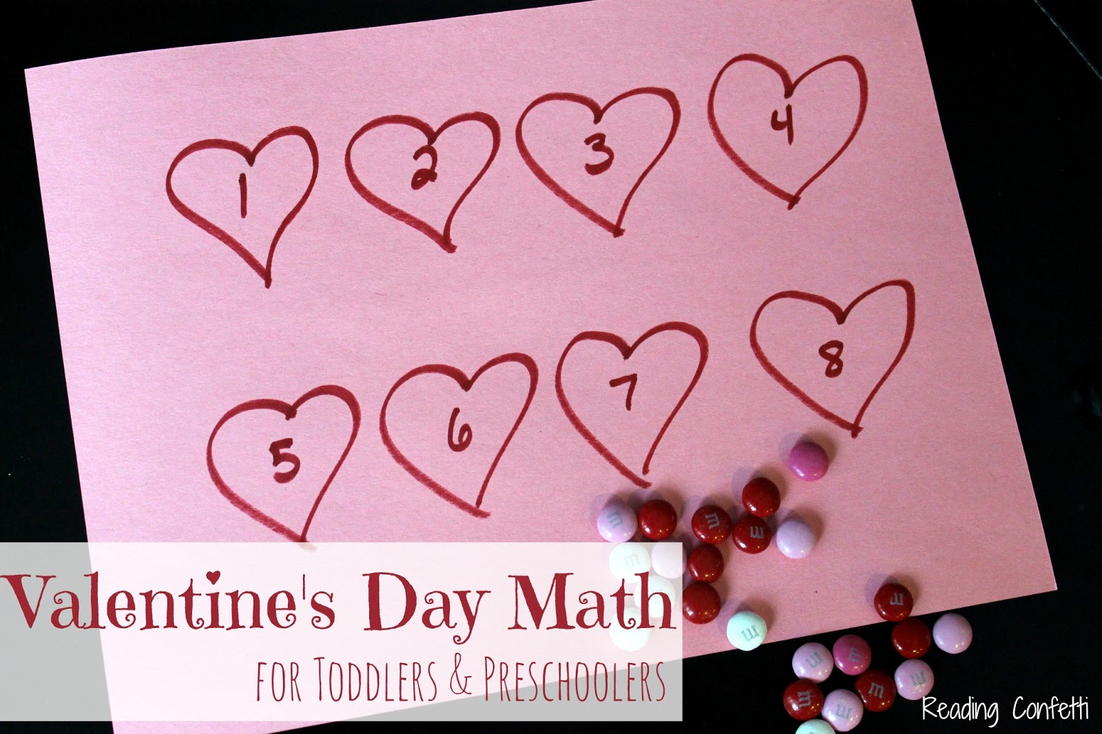 valentine 39 s day math for toddlers and preschoolers reading confetti. Black Bedroom Furniture Sets. Home Design Ideas