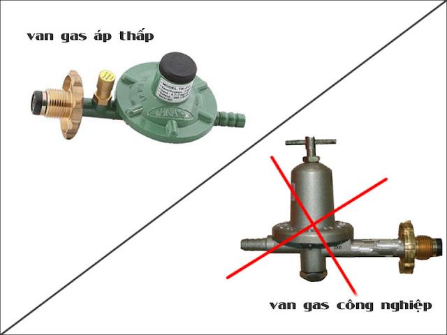 Sử dụng van gas áp thấp trên tủ nấu cơm, không sử dụng van gas công nghiệp