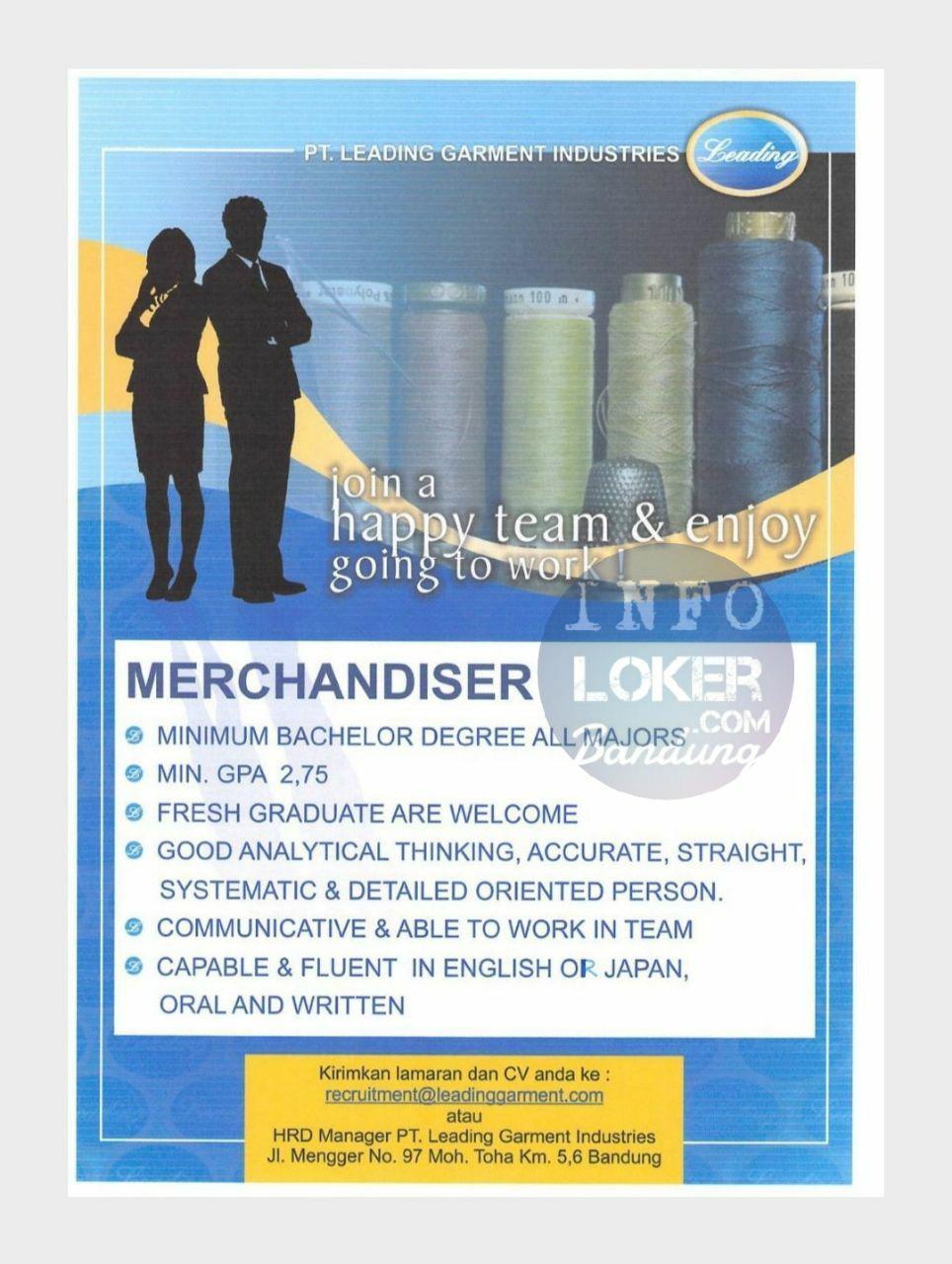 Lowongan Kerja PT. Leading Garment Industries Bandung Januari 2018