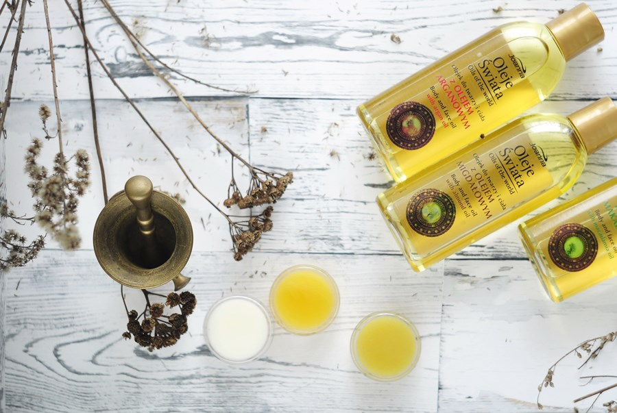 oleje świata joanna olej arganowy olej makadamia olej migdałowy balsamy na suche miejsca 3 w 1