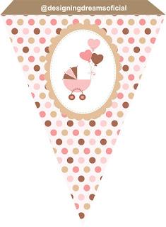 Banner o Estandarte para Imprimir Gratis  de Huellas de Bebé en Rosa.