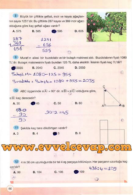 4. Sınıf Yakın Çağ Yayınları Matematik Çalışma Kitabı 60. Sayfa Cevapları