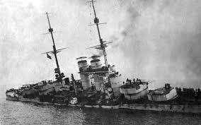 SMS Szent István slowly capsizing