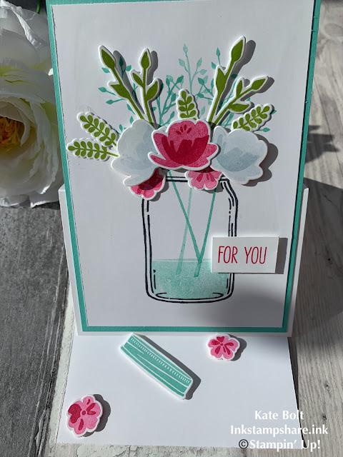 Jar Of Love Easel Card using Coastal Cabana, Melon Mambo and Granny Apple Green, Stampin' Up