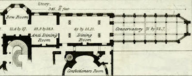 Room layout of right-hand side of basement floor of Carlton House from  Illustrations of the Public Buildings of London by J Britton and A Pugin (1825) anotated from key by Rachel Knowles