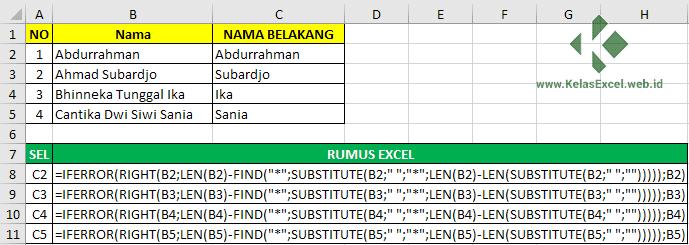 Cara memisahkan nama belakang dengan rumus excel 6