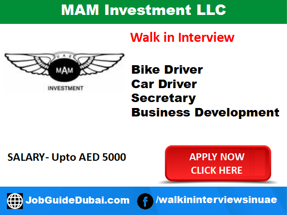 Job in Dubai for Business Development Executive, Car Driver, Bike Driver and Secretary