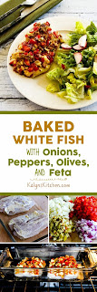 Baked White Fish with Onions, Peppers, Olives, and Feta found on KalynsKitchen.com